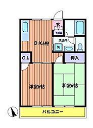 東京都日野市日野台2丁目の賃貸アパートの間取り