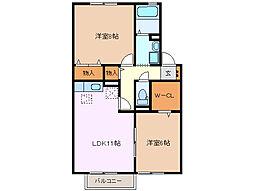 アンシャンテ B棟[2階]の間取り