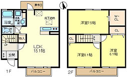 [テラスハウス] 兵庫県神戸市垂水区舞多聞西7丁目 の賃貸【兵庫県 / 神戸市垂水区】の間取り