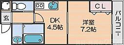 Osaka Metro四つ橋線 花園町駅 徒歩5分の賃貸マンション 4階1DKの間取り