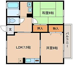 兵庫県神戸市長田区駒ケ林町5丁目の賃貸アパートの間取り