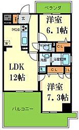 シークリサンス神戸 7階2LDKの間取り