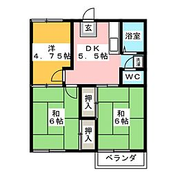 ベルゾーネ田村A[2階]の間取り