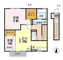 福岡県北九州市小倉南区中曽根4丁目の賃貸アパートの間取り
