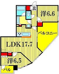 埼玉県越谷市弥生町の賃貸マンションの間取り
