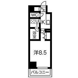 名鉄名古屋本線 名鉄名古屋駅 徒歩12分の賃貸マンション 11階1Kの間取り