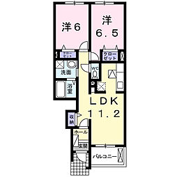 愛知県岡崎市北野町字西河原の賃貸アパートの間取り