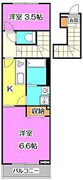 東京都西東京市東町4丁目の賃貸アパートの間取り