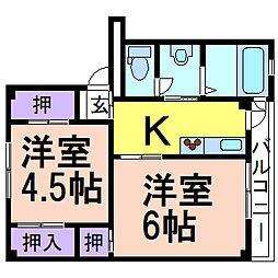 ビレッジハウス奈良部2号棟 1階2Kの間取り