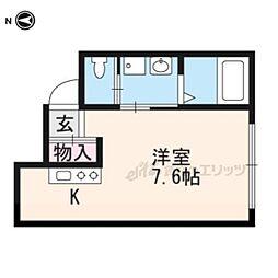 メゾネ・クレアール東寺 1階ワンルームの間取り