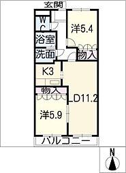 エアル豊明[2階]の間取り