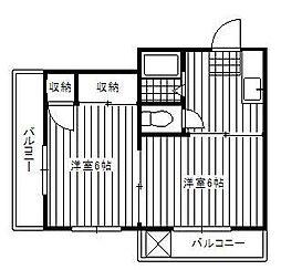 東京都調布市多摩川1丁目の賃貸マンションの間取り