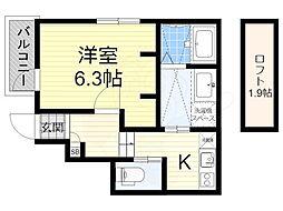 南海高野線 初芝駅 徒歩10分の賃貸アパート 1階1Kの間取り