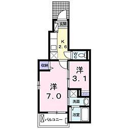 JR鹿児島本線 西小倉駅 バス15分 日明5丁目下車 徒歩2分の賃貸アパート 1階1Kの間取り