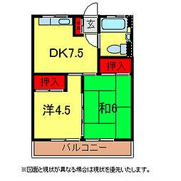 千葉県柏市東中新宿3丁目の賃貸アパートの間取り