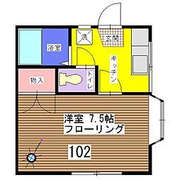 飯田ハイツ[102号室]の間取り