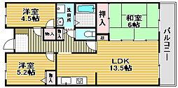 ドミール浜寺[4階]の間取り