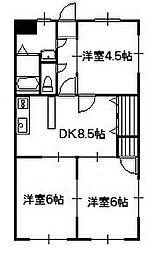 シオンレジデンス _ 4階3DKの間取り