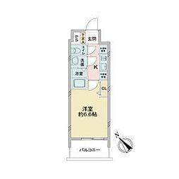 名古屋市営鶴舞線 鶴舞駅 徒歩5分の賃貸マンション 2階1Kの間取り