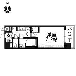 プレサンスTHE KYOTO華苑210 2階1Kの間取り