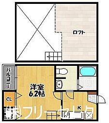 福岡県福岡市東区箱崎4丁目の賃貸アパートの間取り