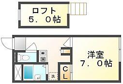JR高徳線 志度駅 徒歩21分の賃貸アパート 2階1Kの間取り
