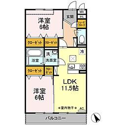 新築D-roomグレイスコート湘南[102号室]の間取り
