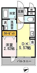 神奈川県横浜市鶴見区尻手1丁目の賃貸アパートの間取り