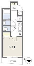 西武新宿線 下落合駅 徒歩5分の賃貸アパート 1階1Kの間取り