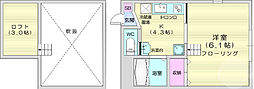 JR仙山線 北山駅 徒歩5分の賃貸アパート 2階1Kの間取り