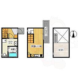 名鉄常滑線 柴田駅 徒歩4分の賃貸アパート 1階ワンルームの間取り
