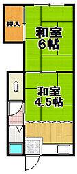 大阪府大阪市福島区野田5丁目の賃貸アパートの間取り