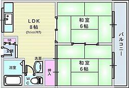 ハイツ上野台B棟[510号室]の間取り
