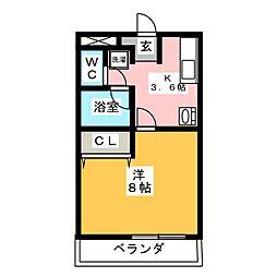 カーサ柳生園[1階]の間取り