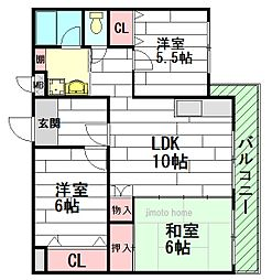ロゴ緑地[2階]の間取り