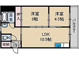桜ヶ丘コーポ[5階]の間取り