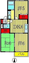 ピュアタウン南逆井B 2階3DKの間取り