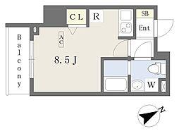 プライムコート本八幡 8階ワンルームの間取り