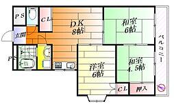 サンライズ芦屋[2階]の間取り
