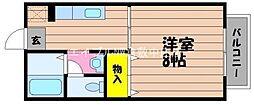 JR山陽本線 新倉敷駅 3.4kmの賃貸アパート 1階1Kの間取り