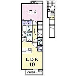 メロウ ブルーム 2階1LDKの間取り