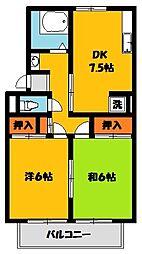 コーポラス宇東A[2階]の間取り