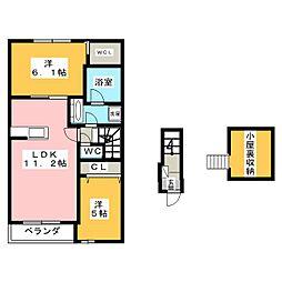 静岡県静岡市清水区下野町の賃貸アパートの間取り