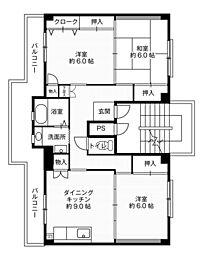 ビレッジハウス大島3号棟5階Fの間取り画像