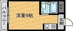 Osaka Metro谷町線 千林大宮駅 徒歩11分の賃貸マンション 2階ワンルームの間取り
