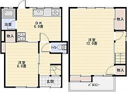 太平寺1丁目テラス 2階2LDKの間取り