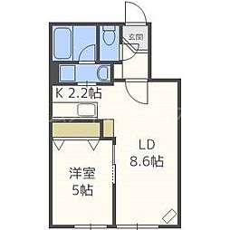 AKUBI 東札幌[2階]の間取り