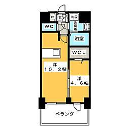 プレサンス錦通 THE 葵 9階1LDKの間取り