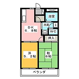 イーストピア米田[2階]の間取り