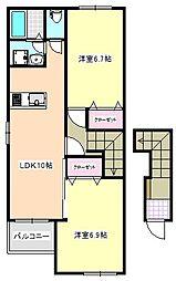 三重県四日市市大字東阿倉川の賃貸アパートの間取り